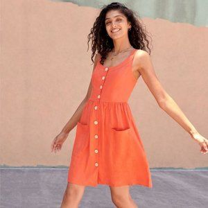 Soludos Papaya Linen Poppy Dress Medium